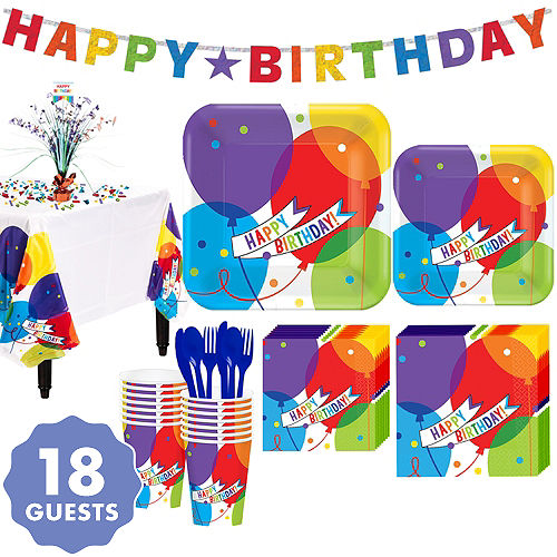 Balloon Bash Birthday Party Kit For 18 Guests