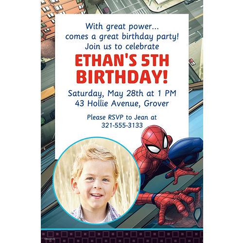 Custom Webbed Wonder Spider Man Photo Invitation