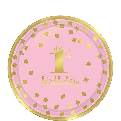 Metallic Pink Gold Confetti 1st Birthday Dessert Plates 8ct