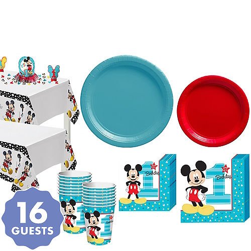 1st Birthday Mickey Mouse Party Kit For 16 Guests