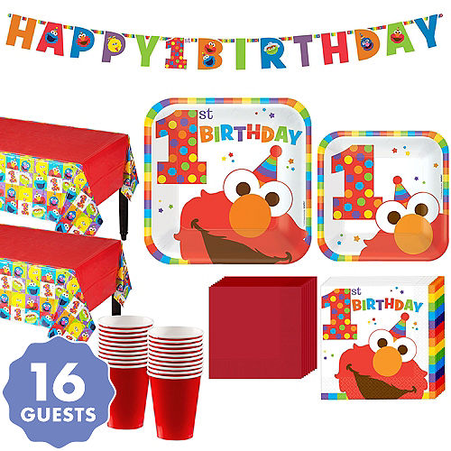 1st Birthday Elmo Party Kit For 16 Guests