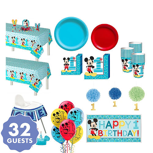 1st Birthday Mickey Mouse Deluxe Party Kit For 32 Guests