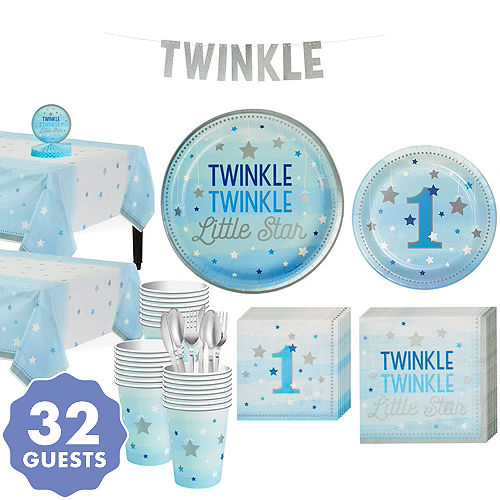Blue Twinkle Little Star 1st Birthday Party Kit For 32 Guests