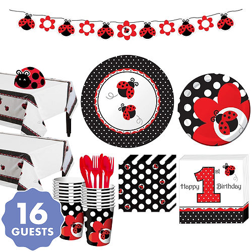 Fancy ladybug 1st birthday party supplies ladybug birthday party fancy ladybug 1st birthday party kit for 16 guests filmwisefo