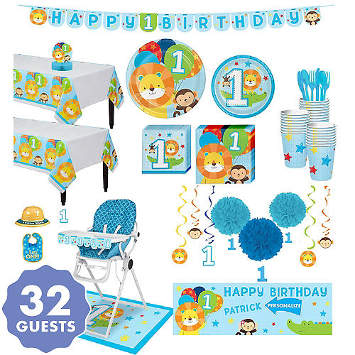 Blue One Is Fun 1st Birthday Deluxe Party Kit For 32 Guests