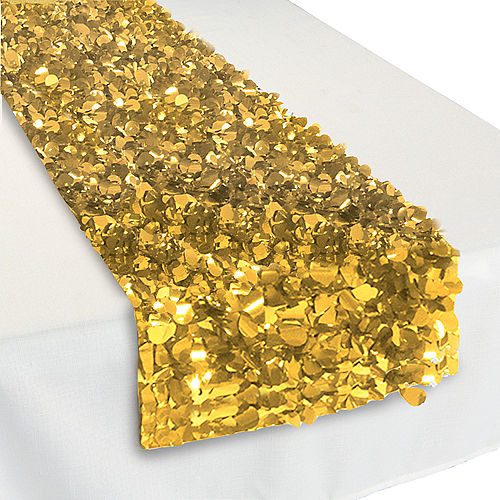 Metallic Gold Fl Table Runner