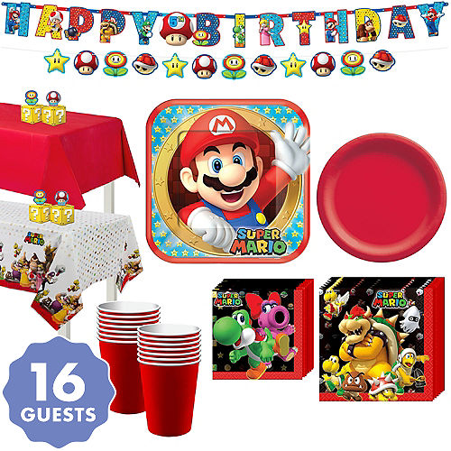 Super Mario Tableware Party Kit For 16 Guests