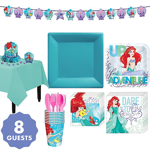 Little mermaid party supplies little mermaid birthday party city little mermaid tableware party kit for 8 guests maxwellsz