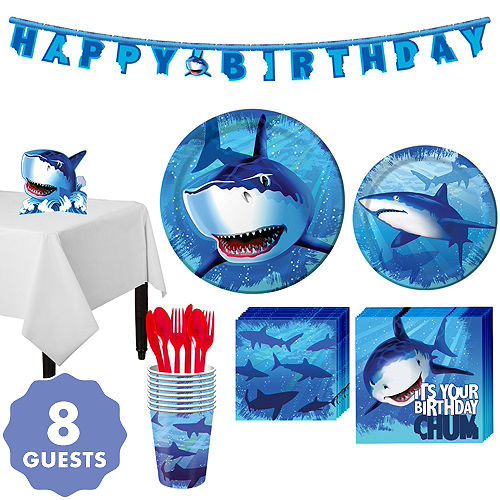 Shark Tableware Party Kit For 8 Guests
