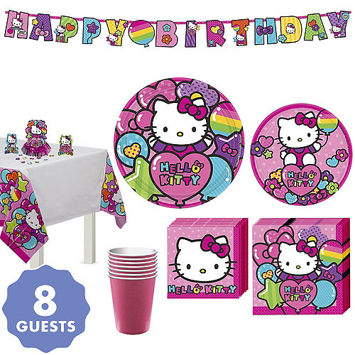 Rainbow Hello Kitty Tableware Party Kit For 8 Guests