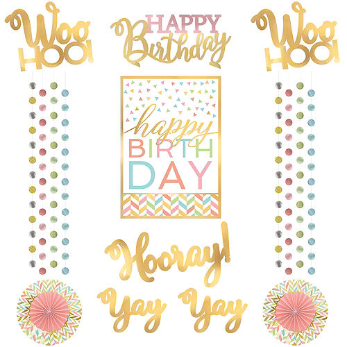 Confetti Fun Birthday Room Decorating Kit 12pc