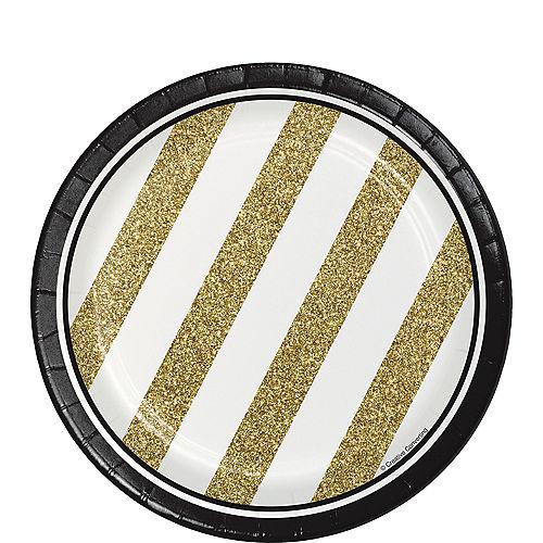 White Gold Striped Dessert Plates 8ct