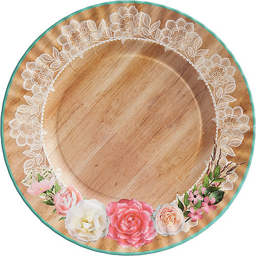 Wedding supplies affordable wedding reception decorations party city floral lace rustic wedding dinner plates 8ct junglespirit Choice Image