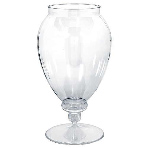 large clear plastic pedestal apothecary jar