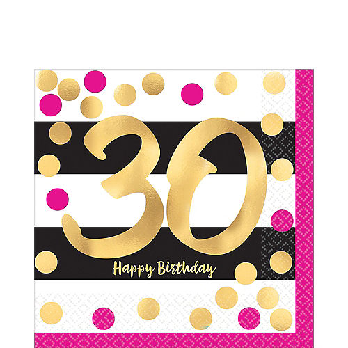 Metallic Pink Gold 30th Birthday Lunch Napkins 16ct