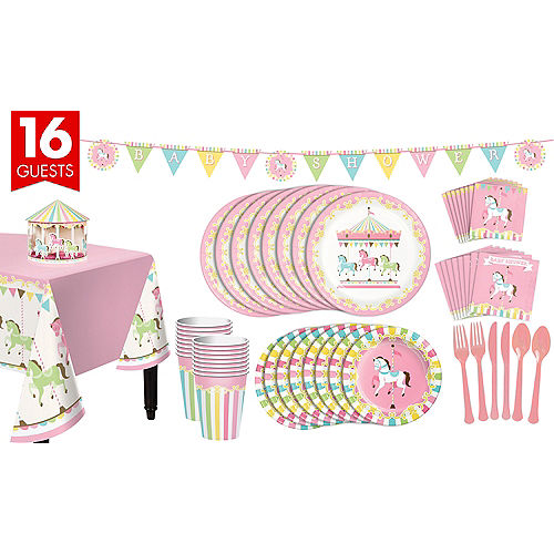 Pink Carousel Baby Shower Supplies Pink Carousel Baby Shower