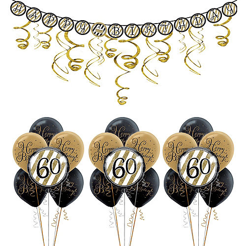 White Gold 60th Birthday Decorating Kit With Balloons