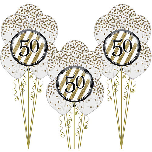 White Gold 50th Happy Birthday Balloon Kit