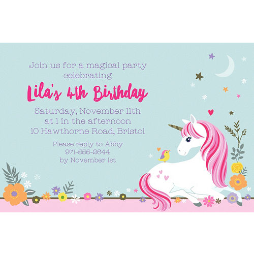 Custom Magical Unicorn Invitation