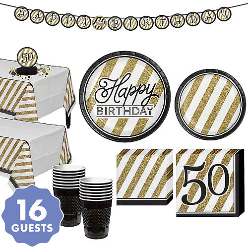 White Gold Striped 50th Birthday Party Kit For 16 Guests