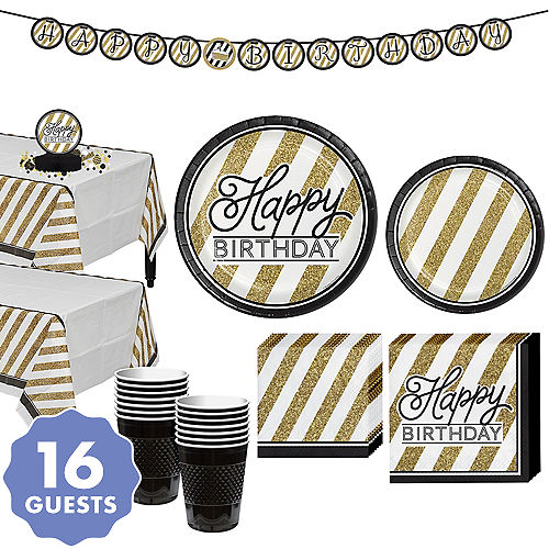 White Gold Striped Birthday Party Supplies Party City