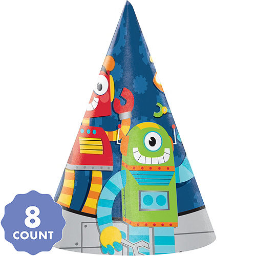 Robot Party Hats 8ct