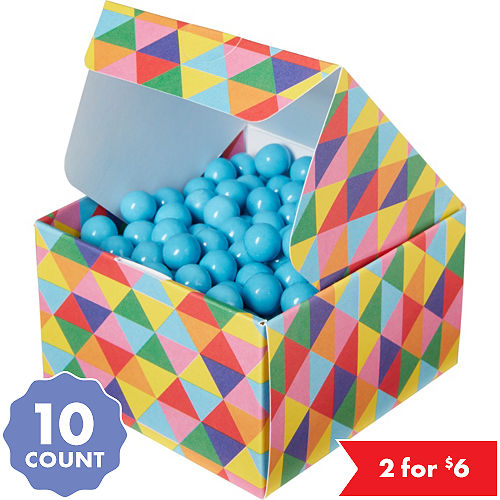 Rainbow Geometric Triangle Treat Boxes 10ct