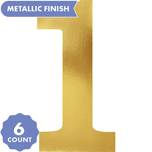 Metallic Gold Number 1 Cutouts 6ct