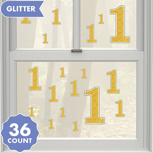 Gold Glitter Number 1 Cling Decals 36ct