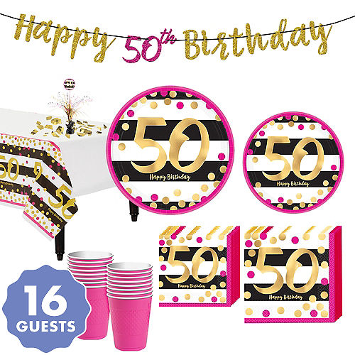 Pink Gold 50th Birthday Party Kit For 16 Guests