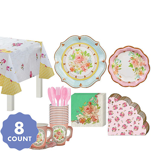 Floral Tea Party Supplies Pastel Floral Tableware Party City