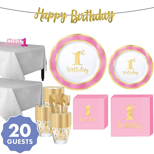 Pink Gold Premium 1st Birthday Party Kit For 20 Guests