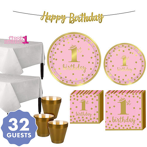 Pink Gold Confetti Premium 1st Birthday Party Kit For 32 Guests