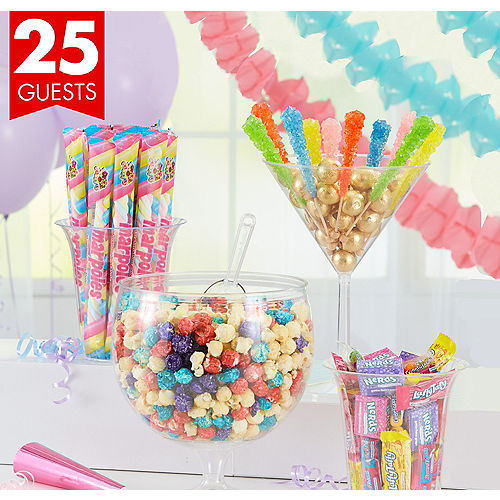 Pastel Popcorn Candy Kit With Containers For 25 Guests