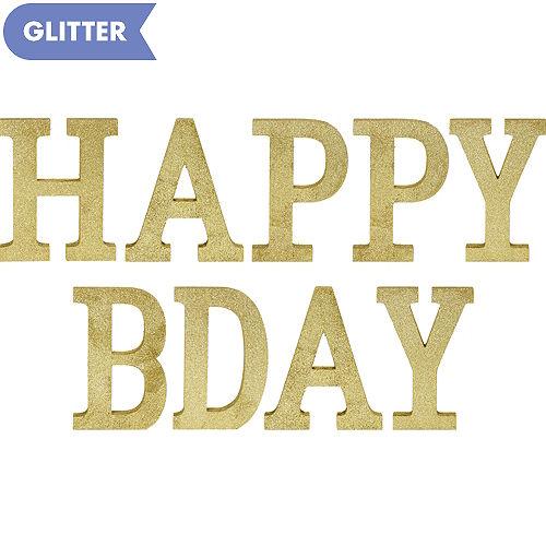Glitter Gold Happy Bday Sign Kit