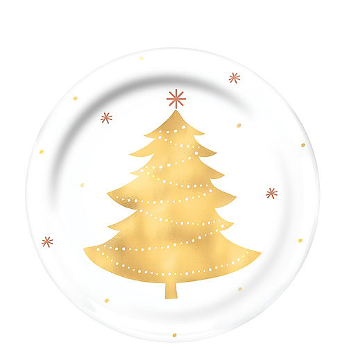 gold tree premium plastic lunch plates 4ct - Christmas Plastic Plates