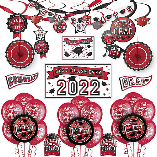 Congrats Grad Red Graduation Deluxe Decorating Kit with Balloons