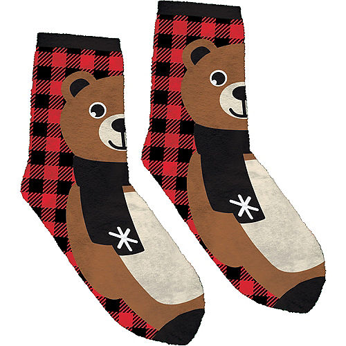 9e47e8278 Adult Fuzzy Bear Christmas Socks