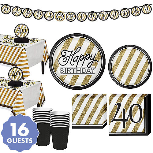 White Gold Striped 40th Birthday Party Kit For 16 Guests