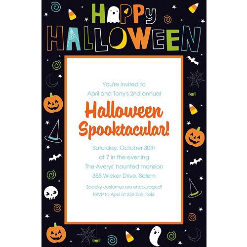 Custom invitations personalized invitations party city custom friendly halloween invitations stopboris Image collections