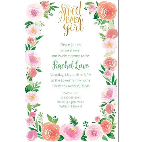 Custom Floral Baby Invitations