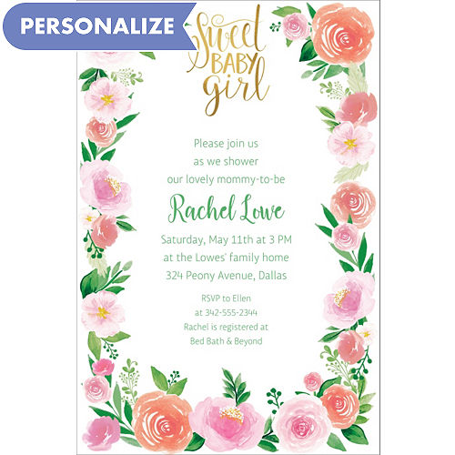 Custom Floral Baby Invitations