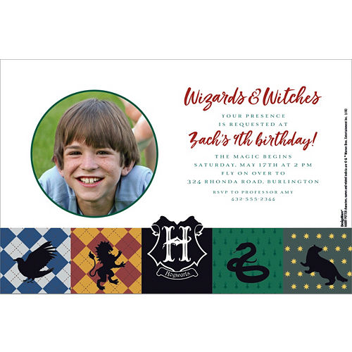 Birthday invitations custom birthday party invites party city custom harry potter photo invitations filmwisefo