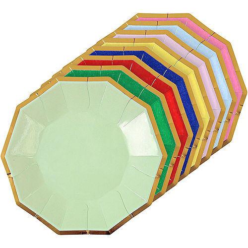 Assorted Color Metallic Appetizer Plates 8ct