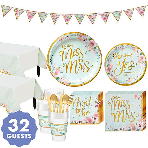 mint to be floral bridal shower party kit for 32 guests