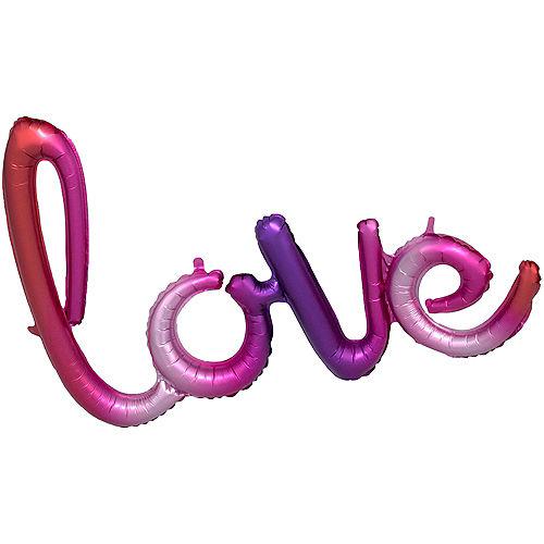 air filled pink purple gradient love cursive letter balloon banner