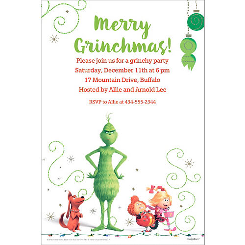 custom the grinch invitations