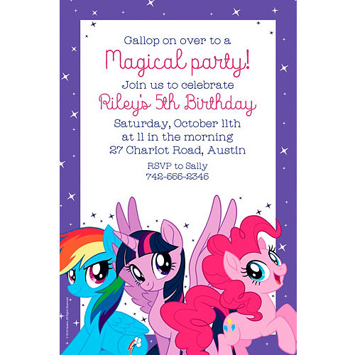 Birthday invitations custom birthday party invites party city custom my little pony invitations filmwisefo