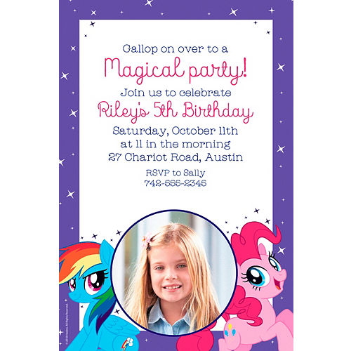 Custom My Little Pony Photo Invitations