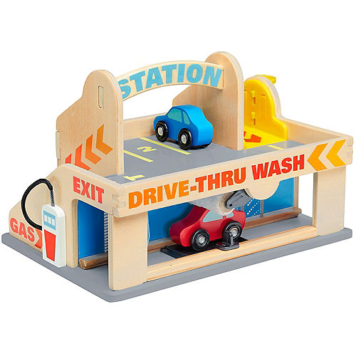 Gas Station With Drive Thru Car Wash >> Melissa Doug Service Station Parking Garage With Cars And